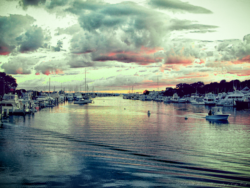 Falmouth Harbor at dusk, Cape Cod.