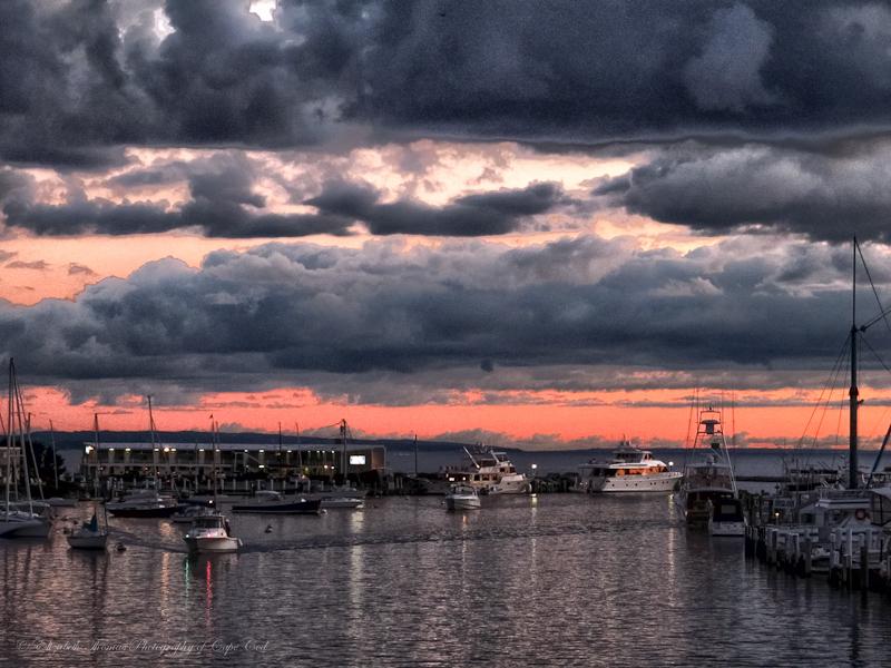 Falmouth Harbor as night descends