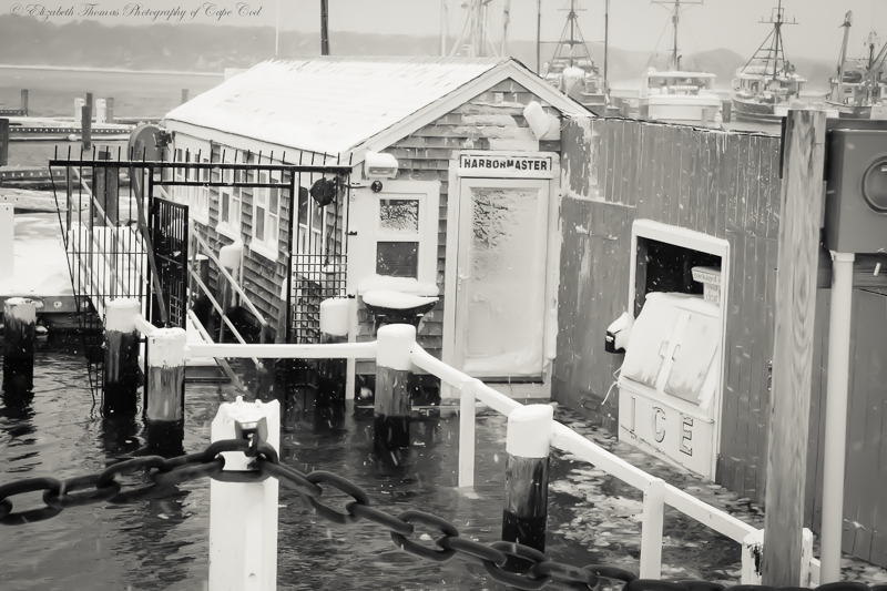 Sandwich Harbormaster's shack under water.