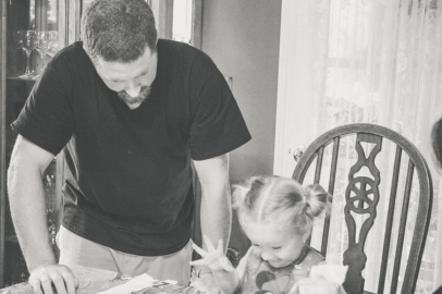 Opening gifts with dad